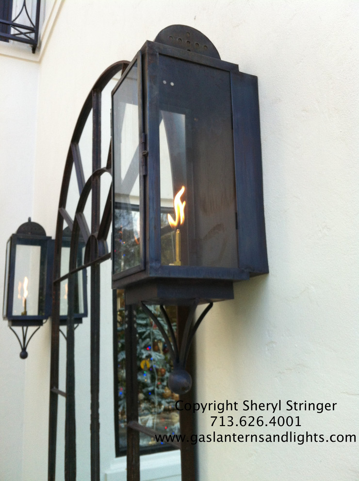 Sheryl's Broad Oaks Gas Lanterns on Contemporary Home