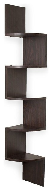 Booker Wall Mount Corner Shelf, Walnut
