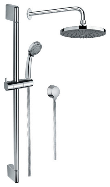 Polished Chrome Shower System With Hand Shower and Sliding Rail ...