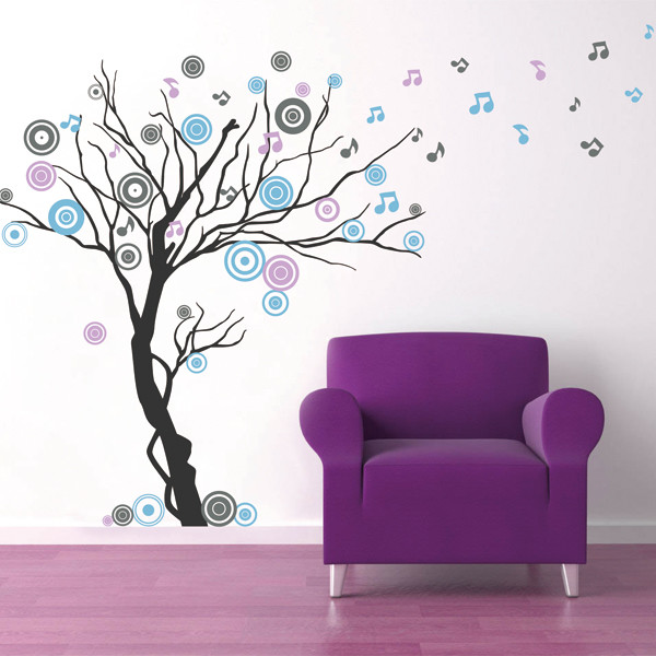 Music Tree, Wall Decal, Grey/Lilac/Geyser Blue Modern Wall