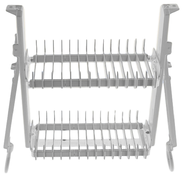 """Cabinet Dish Rack - The DripDry  Dish Rack, White & Chrome, 24"""", Stock Cabinets"""