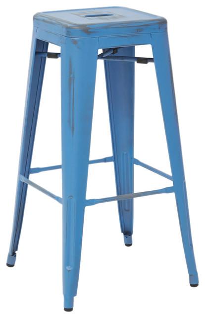 Bristow 30  Metal Bar Stools Set of 4 Antique Royal Blue modern-  sc 1 st  Houzz & Bristow 30