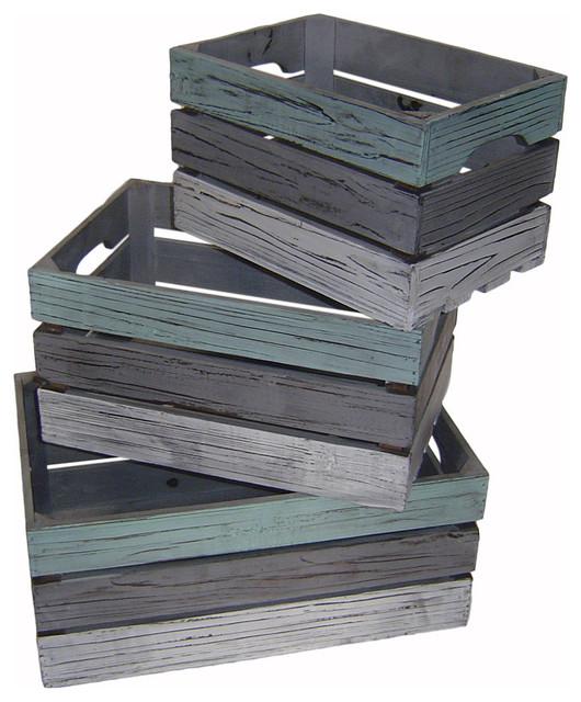 Distressed Wood Slat Crates Multicolor Set Of 3