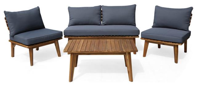 GDF Studio Martha Outdoor 4-Seater Acacia Wood Chat Set, Teak Finish