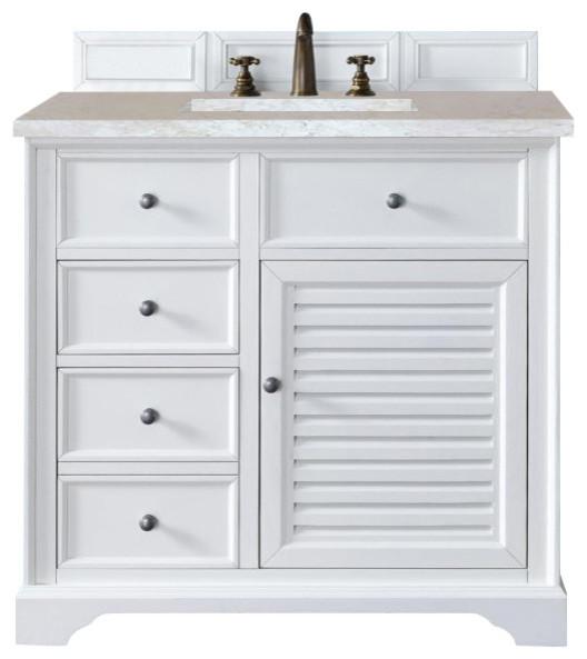Savannah 36 Single Vanity Cabinet Cottage White Beach Style Bathroom Vanities And Sink