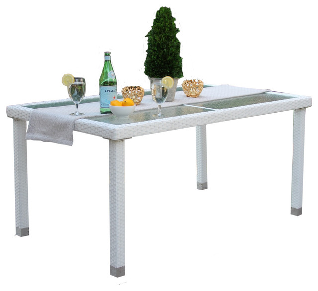 Outdoor Rectangular White Wicker Recessed Gl Dining Table With Storage Cover