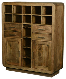 Modern Rustic Solid Wood Glass Holder Wine Rack Home Bar Unit - Rustic - Wine And Bar Cabinets ...