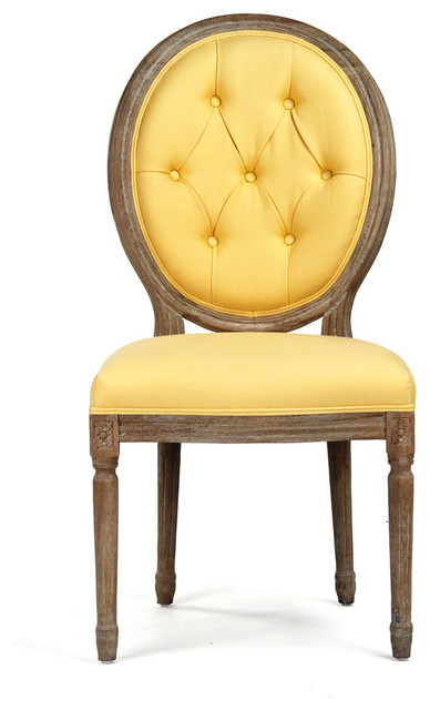 Tufted Medallion Side Chair Yellow Yellow Side Chair E83