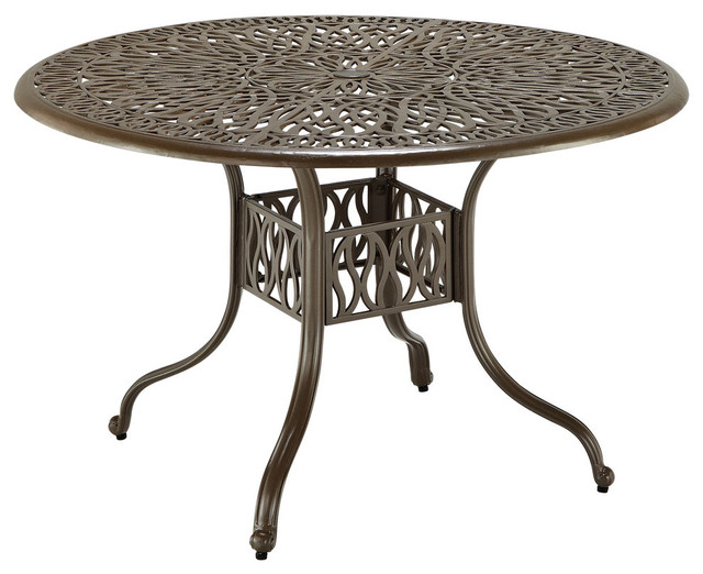 Hinsdale Floral Round Outdoor Dining Table, Brown, 42.