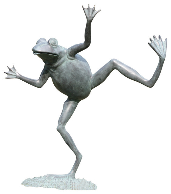 Dancing Frog Spitter Sculpture Contemporary Garden Statues And Yard Art