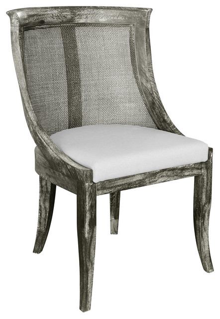 Morel French Country Limed Gray Curved Cane Side Chair