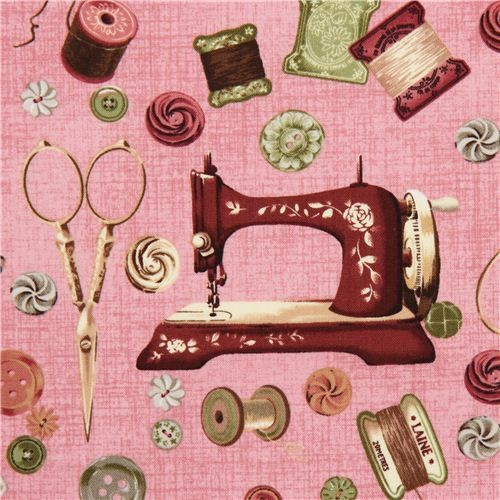 old rose Vintage sewing machine fabric by Robert Kaufman