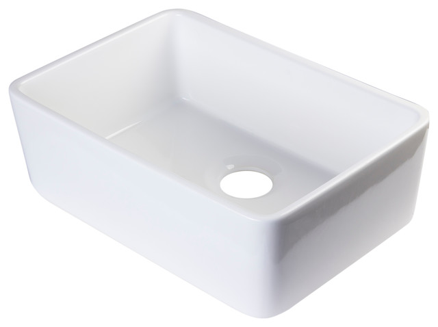 White Single Bowl Kitchen Sink : ... Single Bowl Farmhouse Kitchen Sink - Modern - Kitchen Sinks - by Alfi