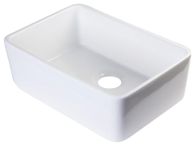 Fireclay Single Bowl Farmhouse Kitchen Sink - Modern - Kitchen Sinks ...