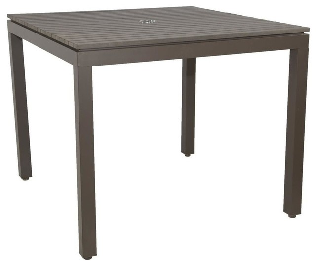 Riviera Square Faux Wood Dining Table, - Contemporary ...