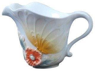 4 75 Inch White Porcelain Creamer Wyellow Butterfly And