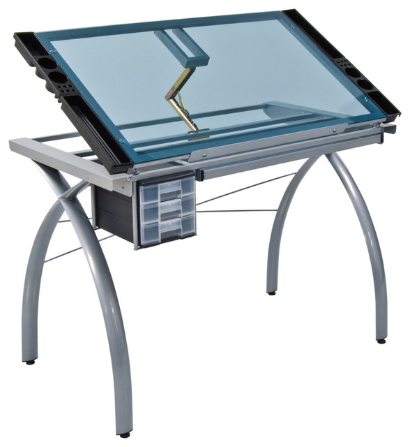 Futura Craft Station, Silver And Blue Glass