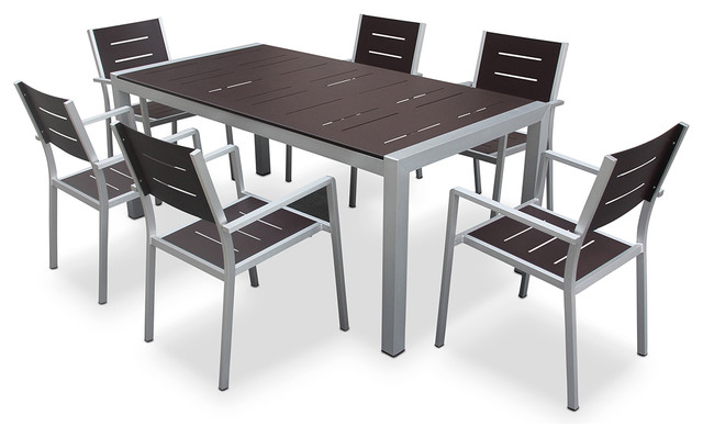 Aluminum Outdoor Patio Furniture Modern 7 Pc Dining Table And Chairs Set