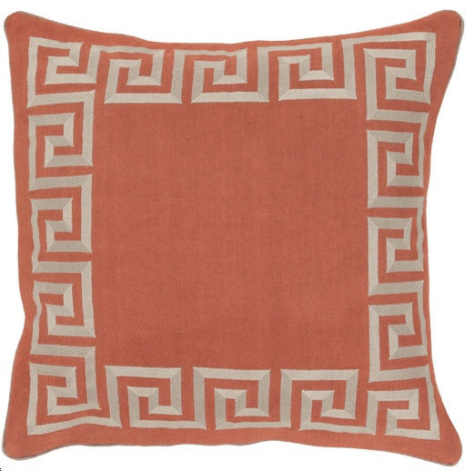 Greek Key, Coral - Contemporary - Decorative Pillows - by Gore Dean Home