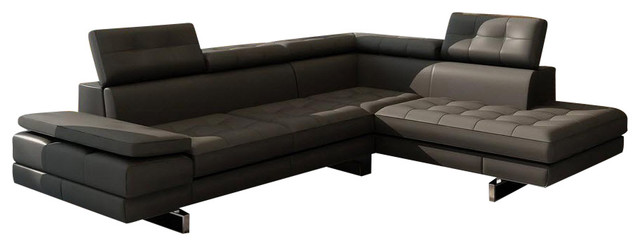 Divani Casa Evangeline Modern Sectional Sofa Dark Grey Bonded - Dark grey leather sectional sofa