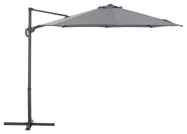 Persephone Outdoor Water Resistant Steel Frame Banana Sun Canopy, Gray.