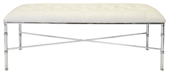 Worlds Away Stella Bamboo Bench, White Nickel.