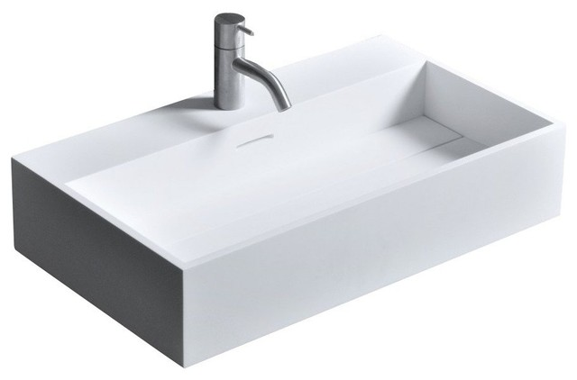 Solidriver 24 in. Wall Vanity Washbasin Single Sink Solid Surface No Faucet Hole