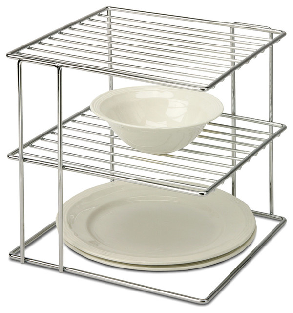 Organize It All 2-Tier Chrome Wire Cabinet Corner Shelf.