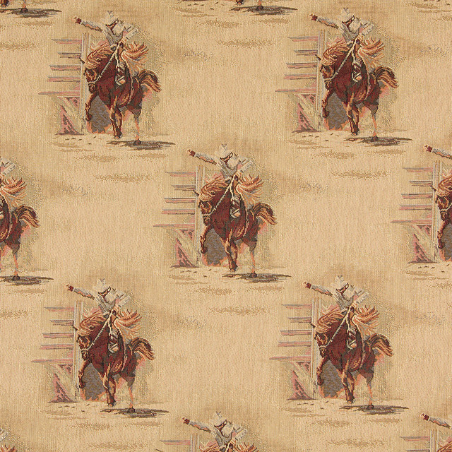 Rodeo Cowboys And Horses Themed Tapestry Upholstery Fabric By The