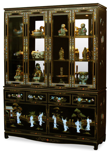 60 black lacquer pearl figure motif china cabinet asian for Chinese black lacquer furniture