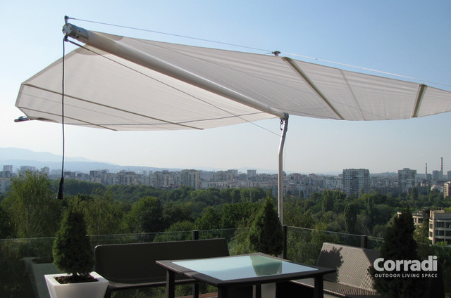 Retractable Shade Sail Contemporary Patio