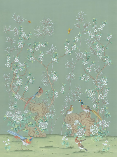 Chinoiserie Wall Mural Rafah, Green, Large.