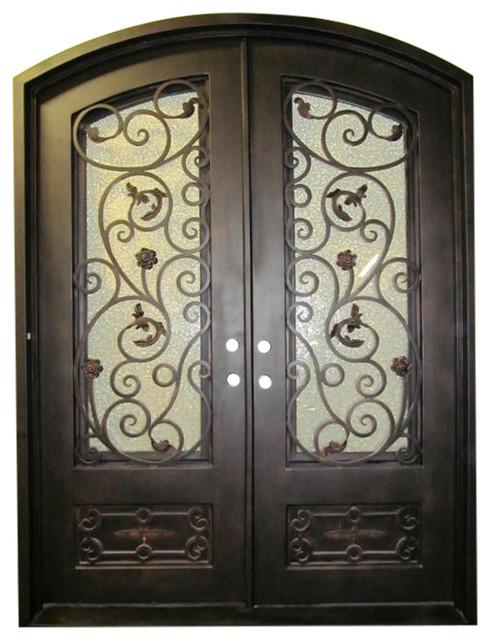 "Pietro Iron Door With Eyebrow Top, Sandblast Glass, Right Hand In-Swing, 72""x96""."