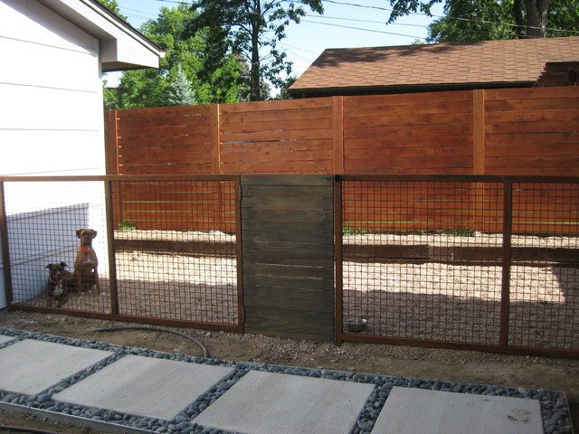 Custom Modern Dog Run Fence Rustic