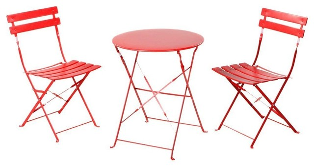 3-Piece Outdoor Folding Steel Bistro Table And Chairs Set, Bright Red.