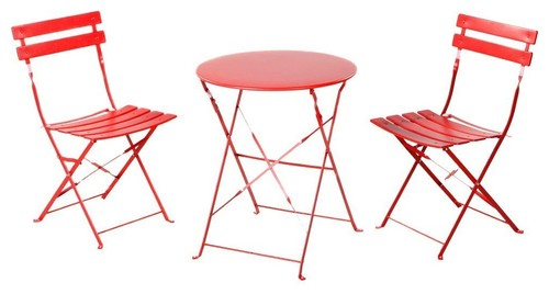 3-Piece Outdoor Folding Steel Bistro Table and Chairs Set, Bright Red