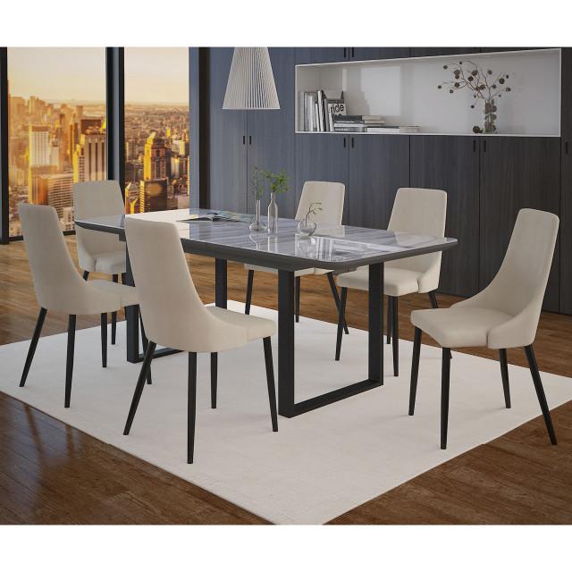 Gavin Venice 7 Piece Dining Set Black Table Beige Chair Midcentury Dining Sets By Skyline Decor