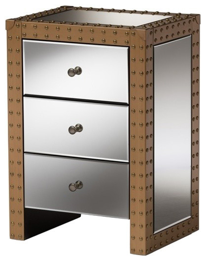 Rustic Industrial Style 3 Drawer Mirrored Nightstand