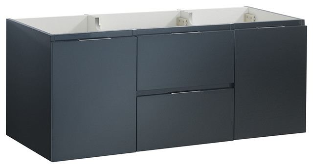 "Valencia 48"" Dark Slate Gray Wall Hung Single Sink Bathroom Cabinet."