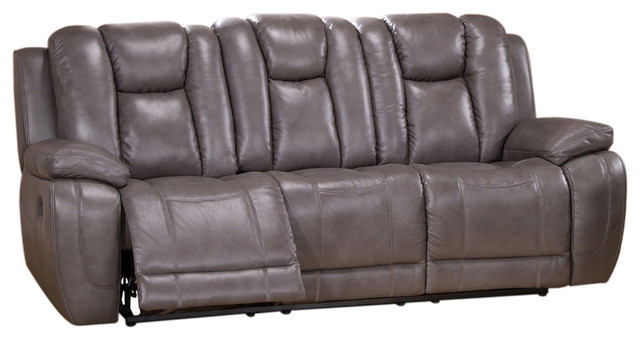 Austin Leather Reclining Sofa With Drop Down Table Smoke Gray