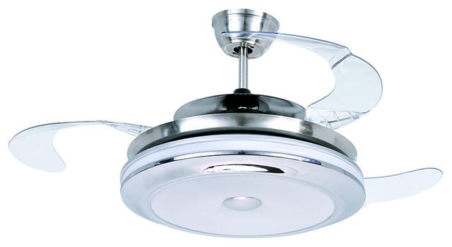 modern style led ceiling fan satin nickel led ceiling fan
