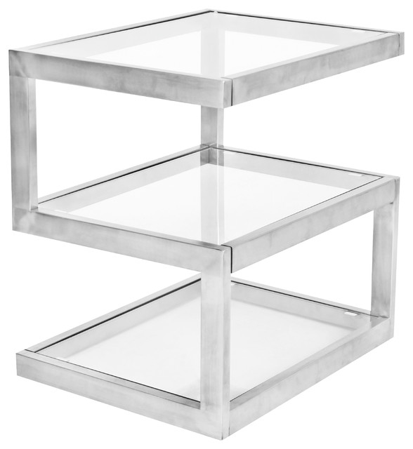 LumiSource 5S End Table, Stainless Steel and Clear Glass