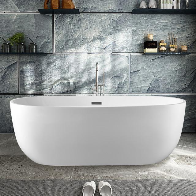 Vanity Art Freestanding Acrylic Soaking Bathtub 67 X32 X23 Contemporary Bathtubs By Vanity Art Llc