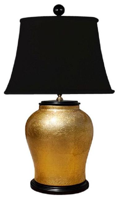 Chinese Gold Leaf Alloy Porcelain Vase Table Lamp 25