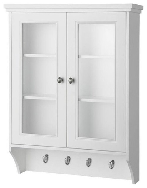 """Foremost Gazette 23-1/2"""" Wall Cabinet in White With Glass Door - Pantry Cabinets 