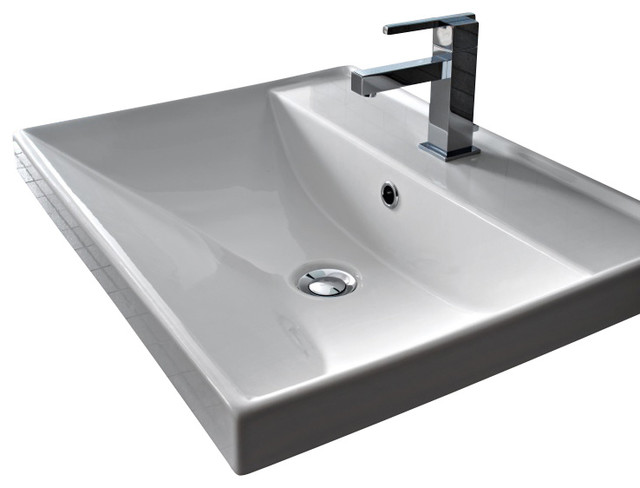 Square White Ceramic Self Rimming or Wall Mounted Bathroom Sink, One Hole