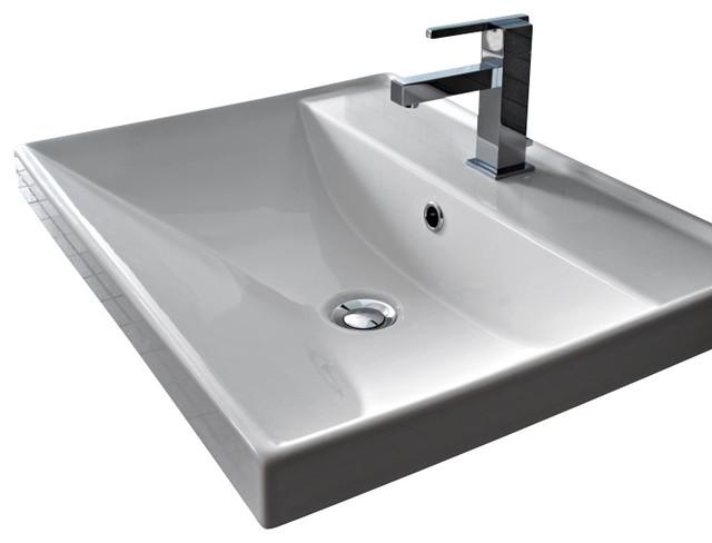 ... Wall-Mounted Bathroom Sink, White, 1 Hole, 24