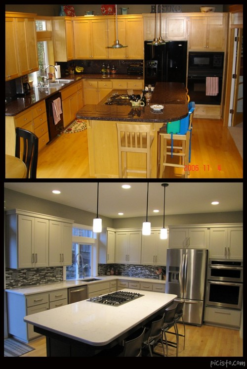 We just completed a not total kitchen makeover same cabinets with a fresh clean modern look cambria quartz stainless accents