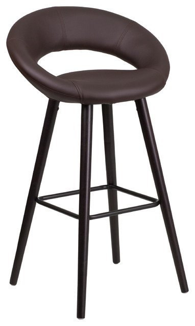 Kelsey Series High Contemporary Vinyl Barstool Cappuccino