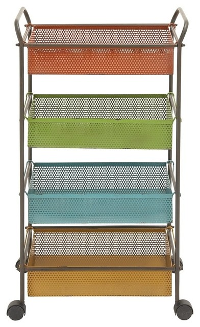 Stylish And Classic Style Colorful Metal Storage Cart Home Decor